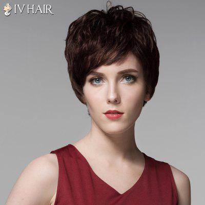 Short Siv Hair Capless Shaggy Wave Side Bang Real Human Hair