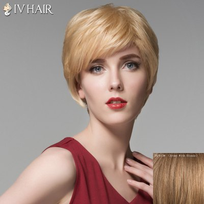 Shaggy Natural Straight Siv Hair Capless Fashion Short Side Bang Human Hair Wig For Women