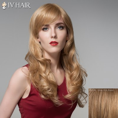 Long Siv Hair Capless Fluffy Wavy Side Bang Human Hair Wig