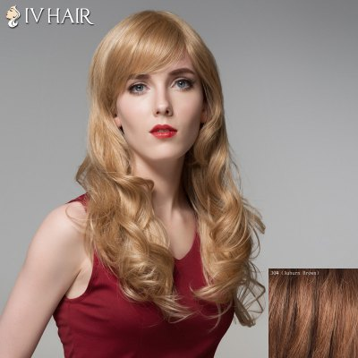 Attractive Long Siv Hair Capless Fluffy Wavy Side Bang 100 Percent Human Hair Wig For Women