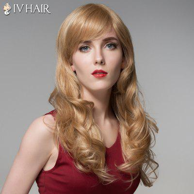Siv Hair Long Capless Fluffy Wavy Side Bang Human Hair Wig