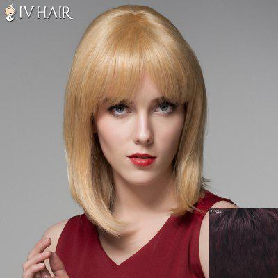 Medium Siv Hair Capless Fashion Straight Tail Adduction Human Hair Wig