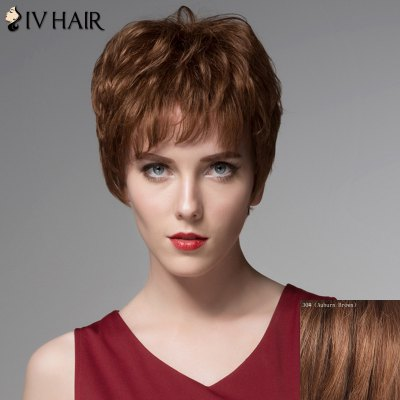 Towheaded Wavy Capless Stylish Short Side Bang Siv Hair Real Human Hair Wig For Women