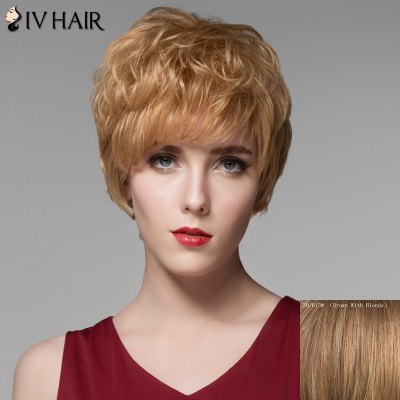 Ladylike Short Siv Hair Capless Fluffy Curly Side Bang Real Natural Hair Wig For Women