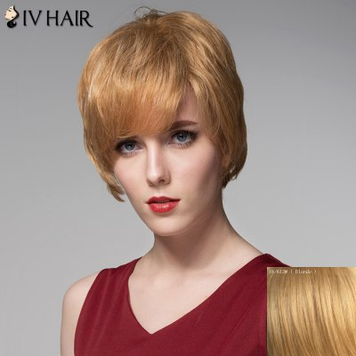 Dynamic Multicolor Straight Siv Hair Fashion Straight Side Bang Human Hair Wig For Women