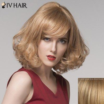 Charming Side Bang Medium Siv Hair Fluffy Curly Capless Human Hair Wig For Women