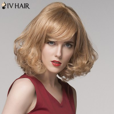 Siv Hair Side Bang Medium Fluffy Curly Capless Human Hair Wig