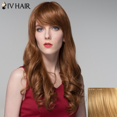 Shaggy Wavy Siv Hair Capless Trendy Long Side Bang Real Human Hair Wig For Women