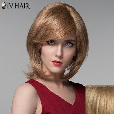 100 Percent Human Hair Fashion Medium Layered Fluffy Straight Siv Hair Wig For Women