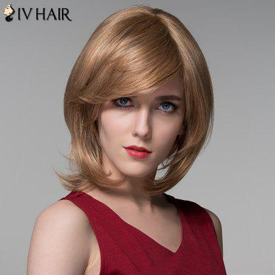 Human Hair Medium Layered Fluffy Straight Siv Hair Wig