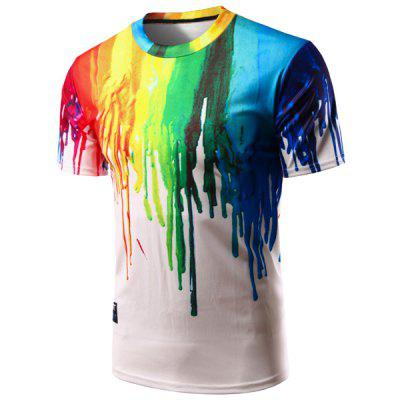 Buy COLORFUL Casual Colorful Painting Pullover T-Shirt For Men for $13.18 in GearBest store
