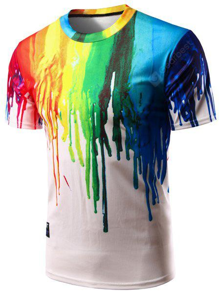 Casual Colorful Painting Pullover T-Shirt For Men