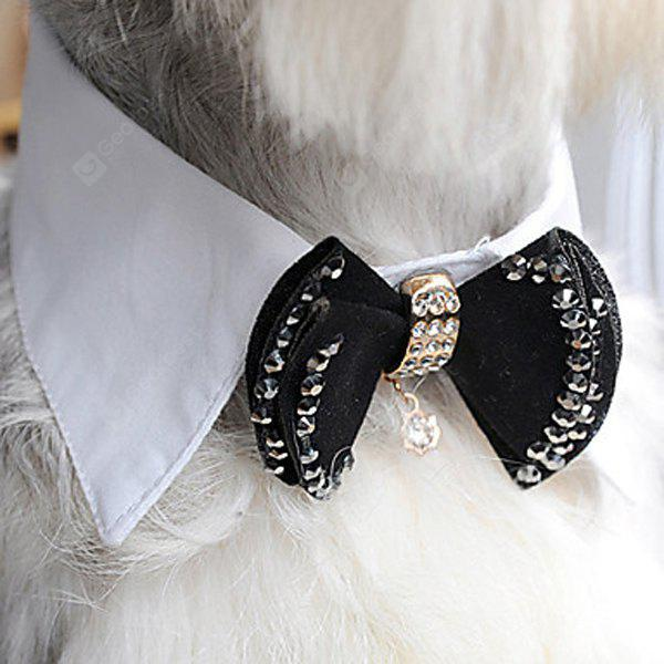 Stylish Pet Necklace Accessories Rhinestone Embellished Dog Bow Tie Detachable Collar