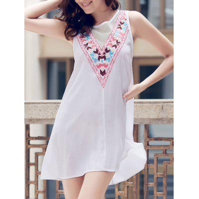 Fashionable Jewel Neck Sleeveless Embroidered A-Line Dress For Women