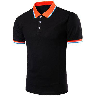 Buy BLACK Color Block Splicing Design Turn-Down Collar Short Sleeve Polo T-Shirt For Men for $11.87 in GearBest store