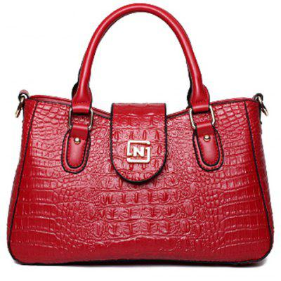 Stylish Crocodile Print and Metal Design Tote Bag For Women