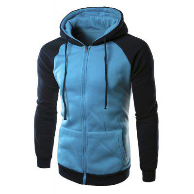 Slim Fit Long Sleeves Color Block Zipper Light Blue Hoodie men