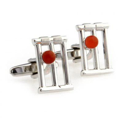 Red Faux Gem Embellished Hollow Out Alloy Cufflinks For Men