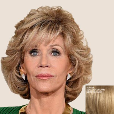 Buy GOLDEN BROWN WITH BLONDE Elegant Short Fluffy Curly Capless Side Bang Real Human Hair Wig For Women for $79.23 in GearBest store