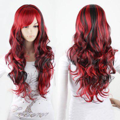 Charming Long Black Mixed Red Shaggy Curly Side Bang Synthetic Cosplay Wig For Women