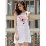 Fashionable Jewel Neck Sleeveless Embroidered A-Line Dress For Women - BLANC