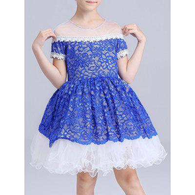 Sweet Short Sleeve Lace Spliced See-Through Girl's Ball Gown Dress