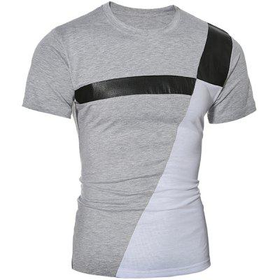Trendy Round Neck Color Block PU-Leather Spliced Short Sleeve Men's T-Shirt