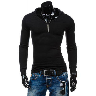 Slimming Hooded Solid Color Long Sleeves T-Shirt For Men