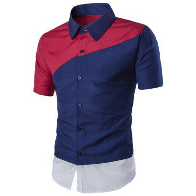 Vogue Turn-down Collar Color Lump Spliced Short Sleeves Shirt For Men