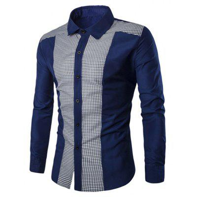 Buy CADETBLUE 2XL Elegant Plaid Spliced Color Block Turn-down Collar Long Sleeves Shirt For Men for $9.58 in GearBest store