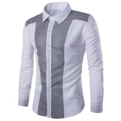Plaid Spliced White T Shirt