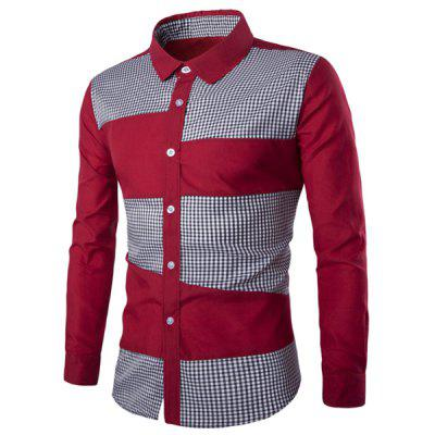 Classic Plaid Spliced Slimming Turn-down Collar Long Sleeves Shirt For Men