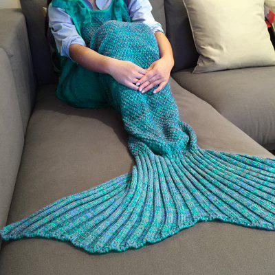 Buy Stylish Drawstring Style Knitted Mermaid Design Sleeping Bag Blanket LAKE BLUE for $28.80 in GearBest store