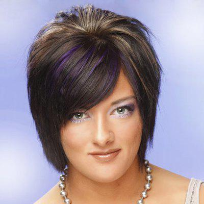 Short Side Bang Capless Highlight Straight Synthetic Wig