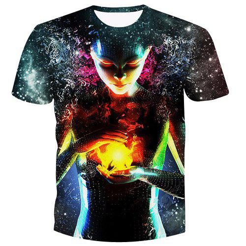 Buy Men's Fashion Pullover Witch Printed T-Shirt L COLORMIX