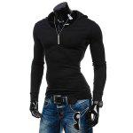Slimming Hooded Solid Color Long Sleeves T-Shirt For Men deal