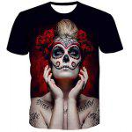 Fashion Men's Pullover Round Collar Skull Lady Printing T-Shirt - COLORMIX