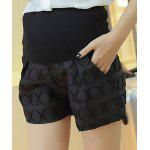 cheap Stylish Elastic Waist Jacquard Design Splice Women's Shorts