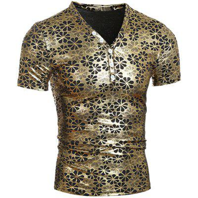 Pullover Short Sleeves Flower Printing T-Shirt For Men