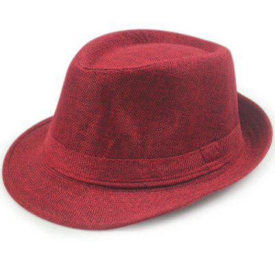 Trendy Solid Color Flanging Flax Jazz Hat