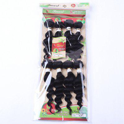 8Pcs/Lot Stylish Black 90 Percent Human Hair Blended Synthetic Fluffy Wave Women's Hair Extension
