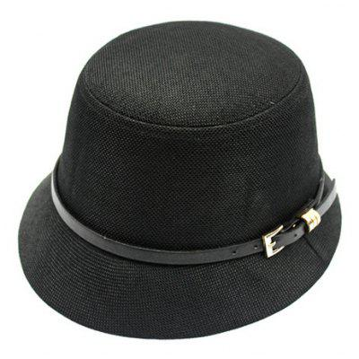 Chic Pin Buckle Belt Embellished Flat Top Flax Bucket Hat For Women