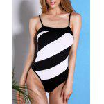 Casual Style Spaghetti Strap Striped One Piece Swimwear For Women