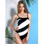 Casual Style Spaghetti Strap Striped One Piece Swimwear For Women for sale