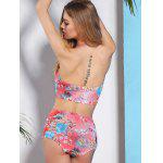 High-Waisted Floral Print Bikini Swimsuit with Push Up Bra for sale