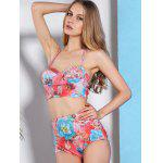 High-Waisted Floral Print Bikini Swimsuit with Push Up Bra deal