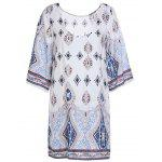 Printed Chiffon Backless Casual Shift Dress - COLORMIX
