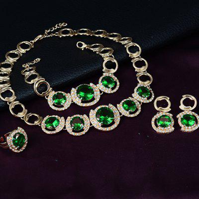 A Suit of Vintage Rhinestone Faux Crystal Necklace Ring Bracelet and Earrings For Women