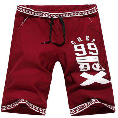 Casual Straight Leg Letters Five-Pointed Star Print Lace-Up Short For Men