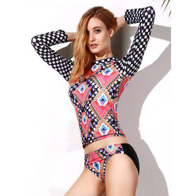 Geo Print Mock Neck Rashguard Set
